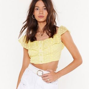 NastyGal floral yellow top